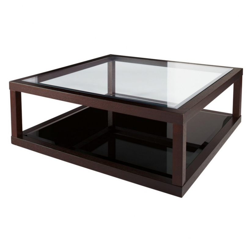 modern coffee table glass and wood photo - 9
