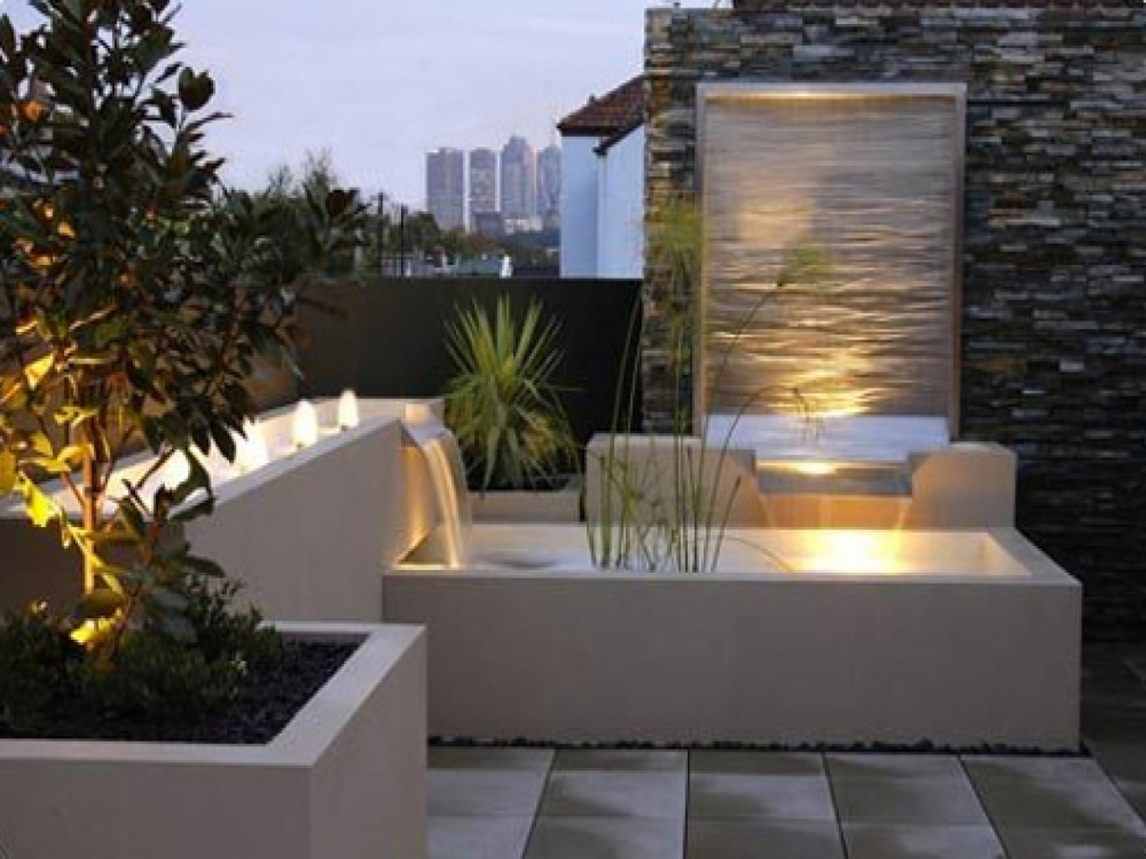 modern water fountains outdoor photo - 9