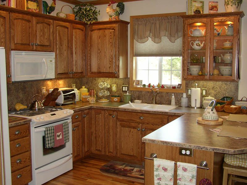 oak country kitchen designs photo - 7
