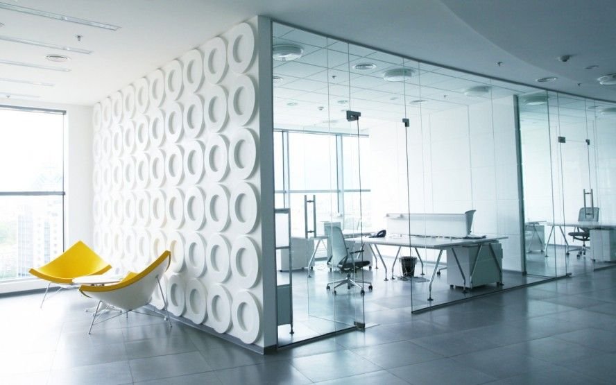office interior glass walls photo - 2