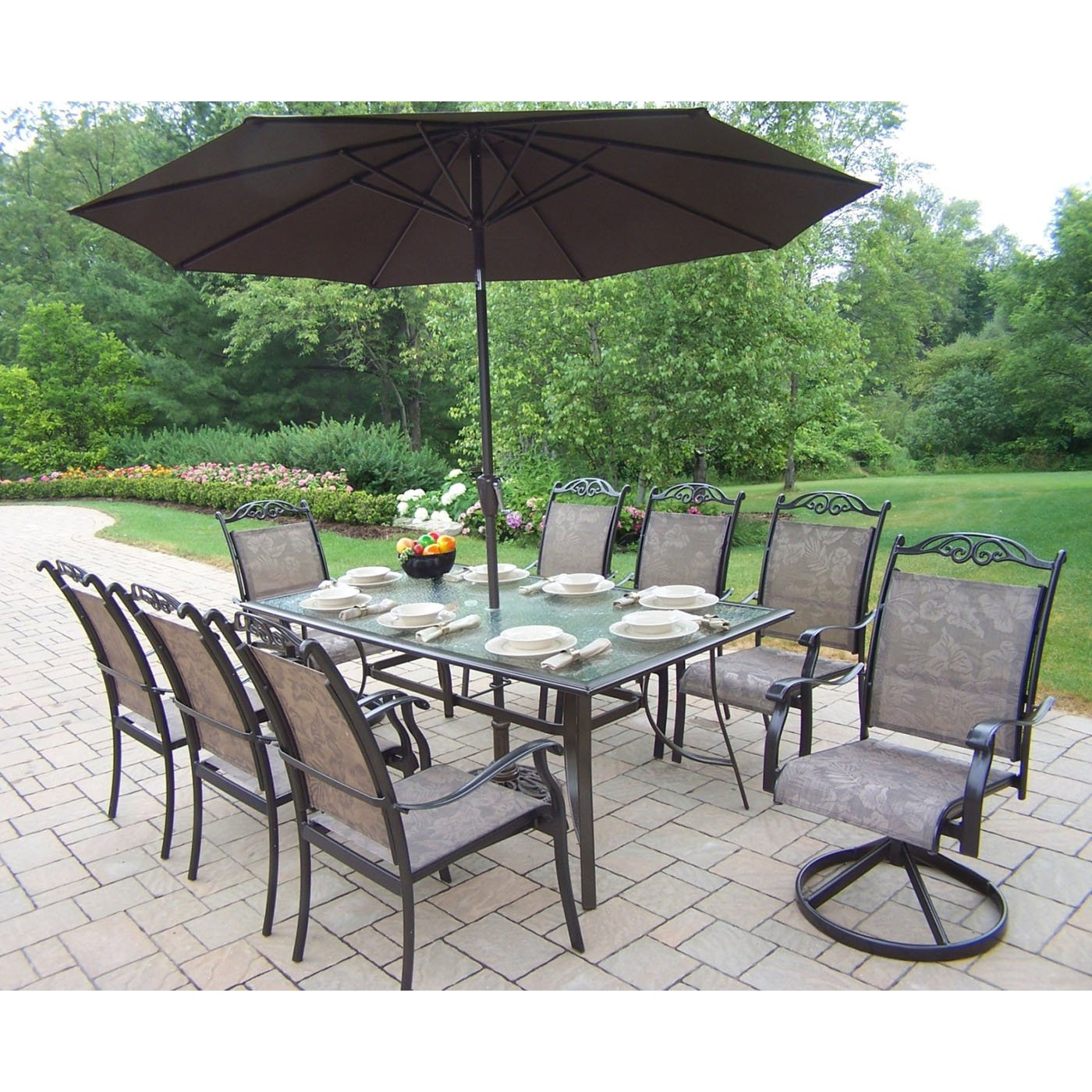 outdoor dining sets with umbrella photo - 1