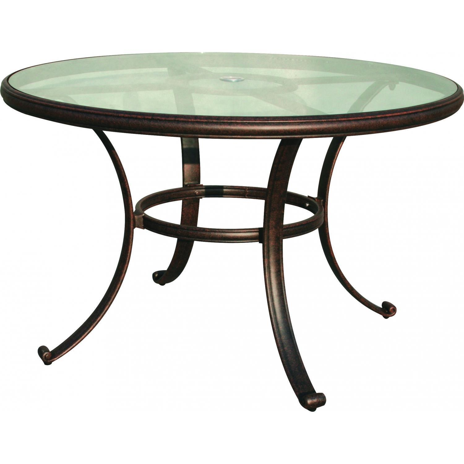 outdoor dining table glass top photo - 2