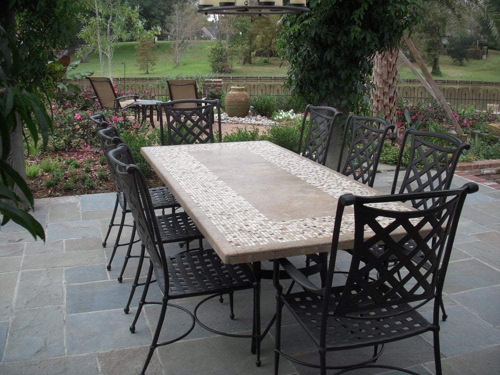 outdoor dining table granite photo - 10