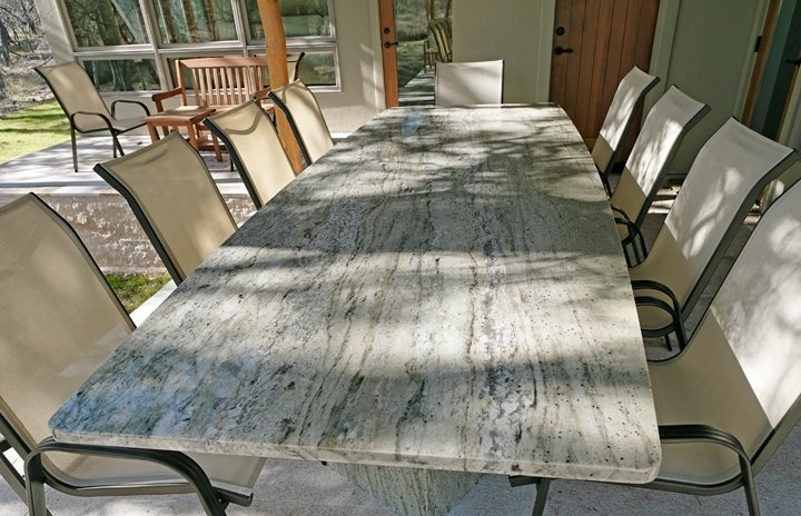 outdoor dining table granite photo - 9