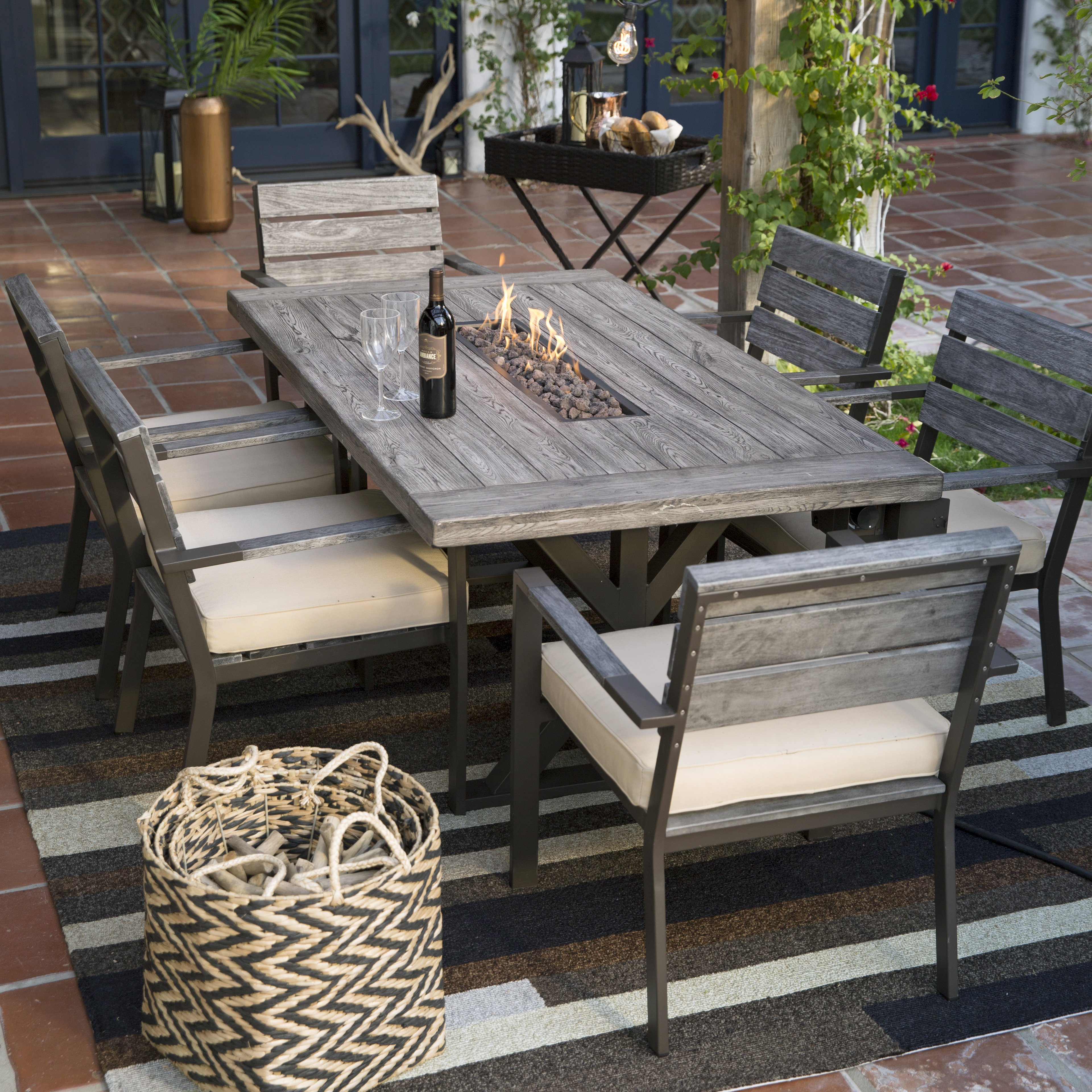 outdoor dining table with grill photo - 4