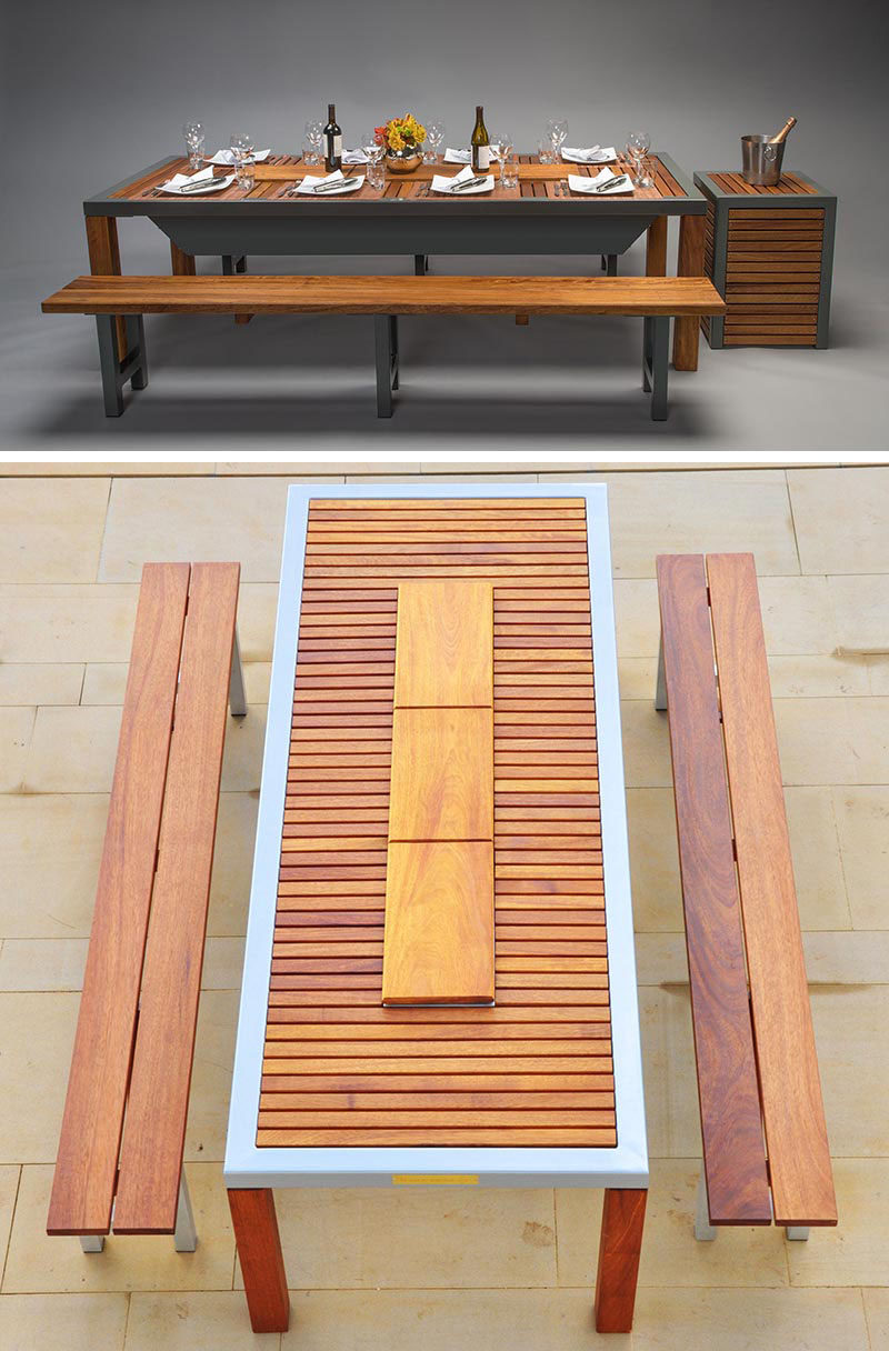 outdoor dining table with grill photo - 6