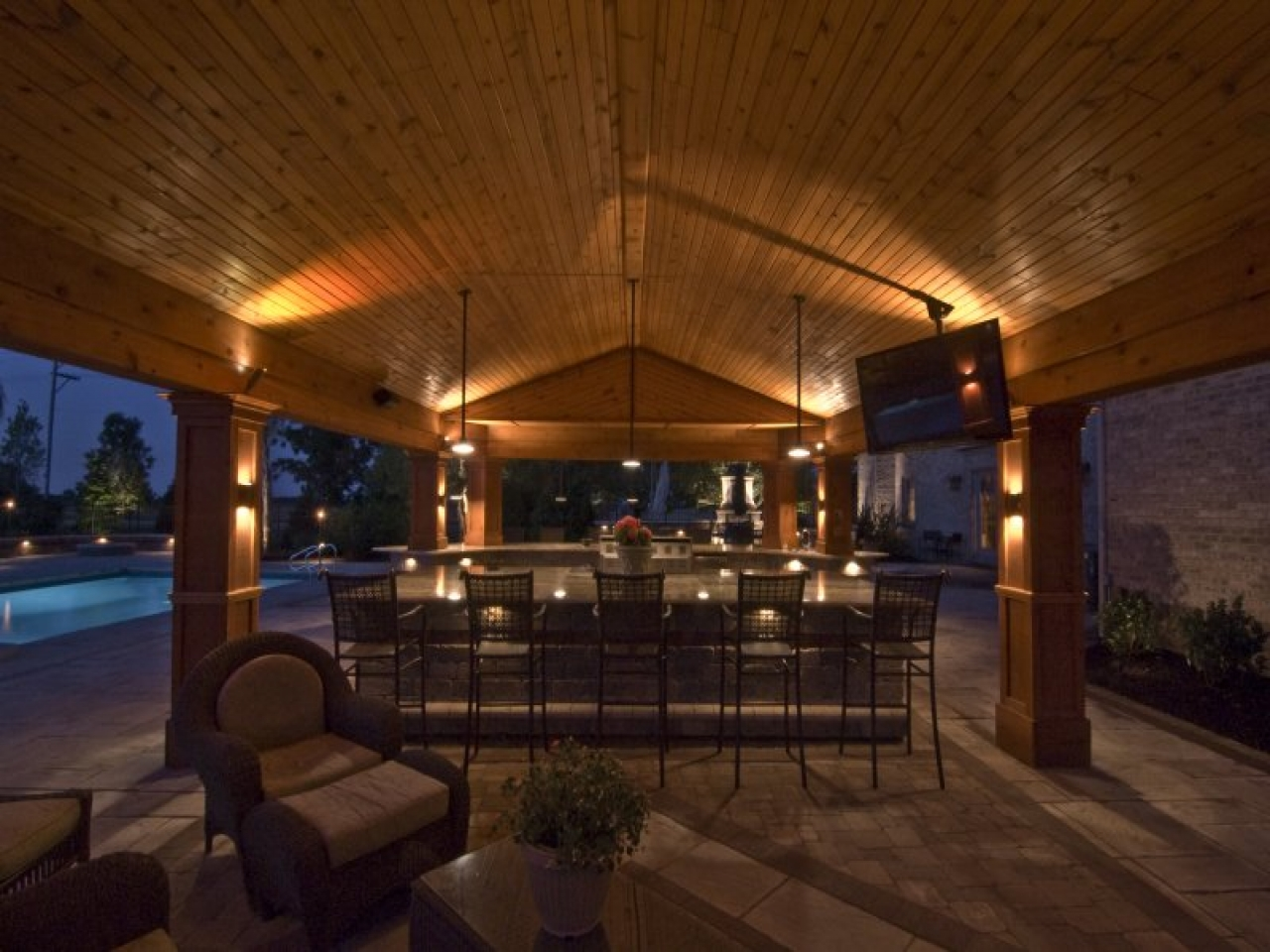 outdoor kitchen lighting photo - 2