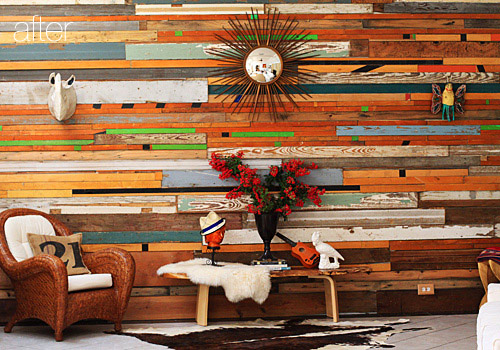 reclaimed wood wall design sponge photo - 4