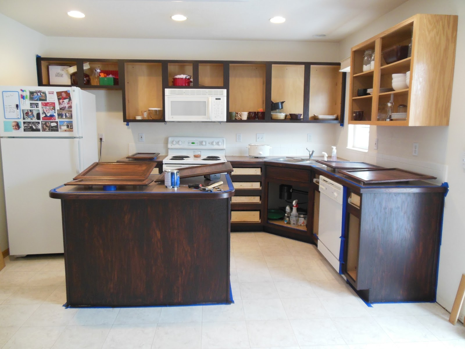restaining kitchen cabinets gel stain photo - 7