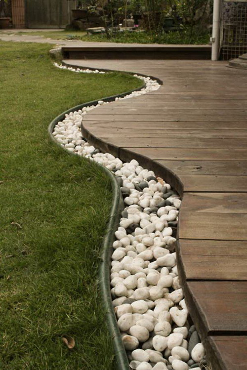 river rock garden edging photo - 5