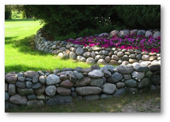 river rock garden wall photo - 9