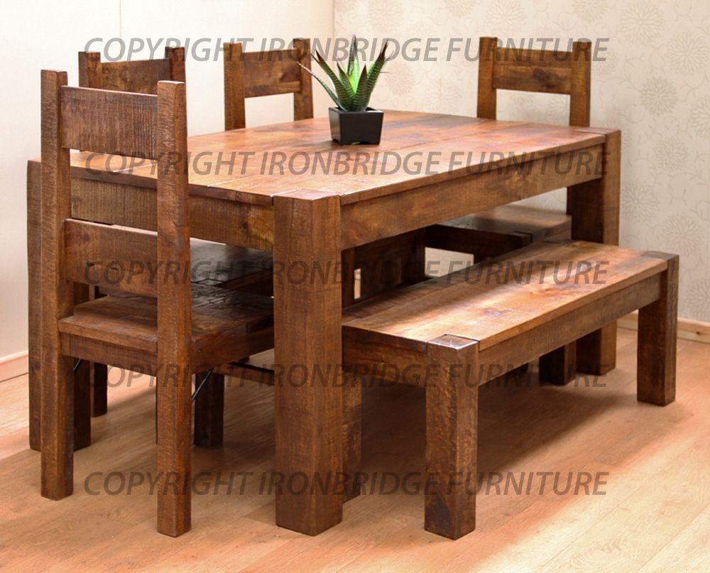 rustic dining room table bench photo - 10
