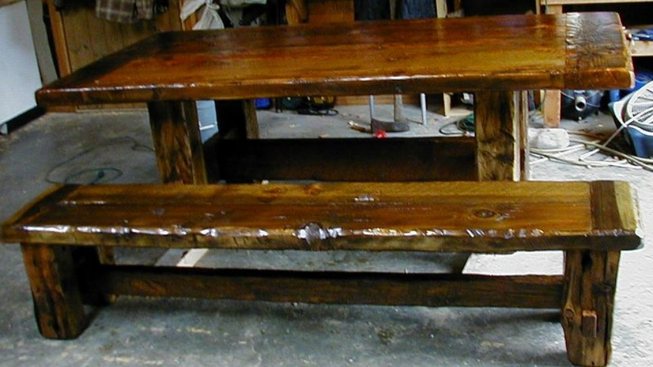 rustic dining room table bench photo - 2