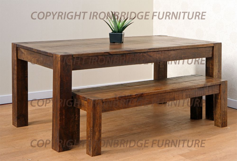 rustic dining room table bench photo - 4
