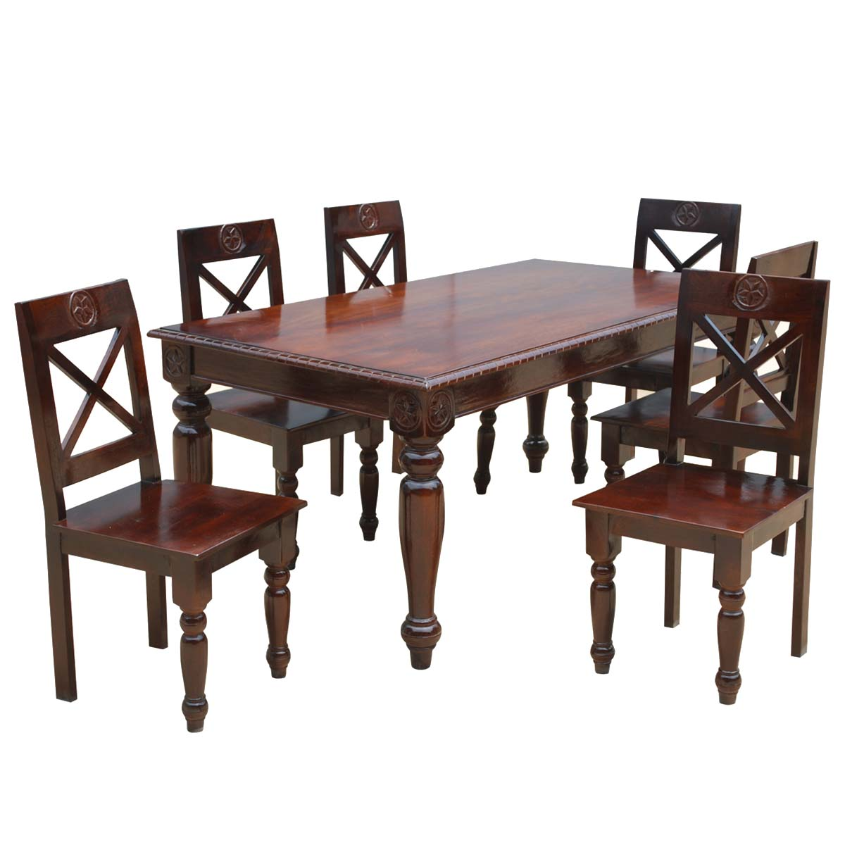 rustic dining table and chairs photo - 5