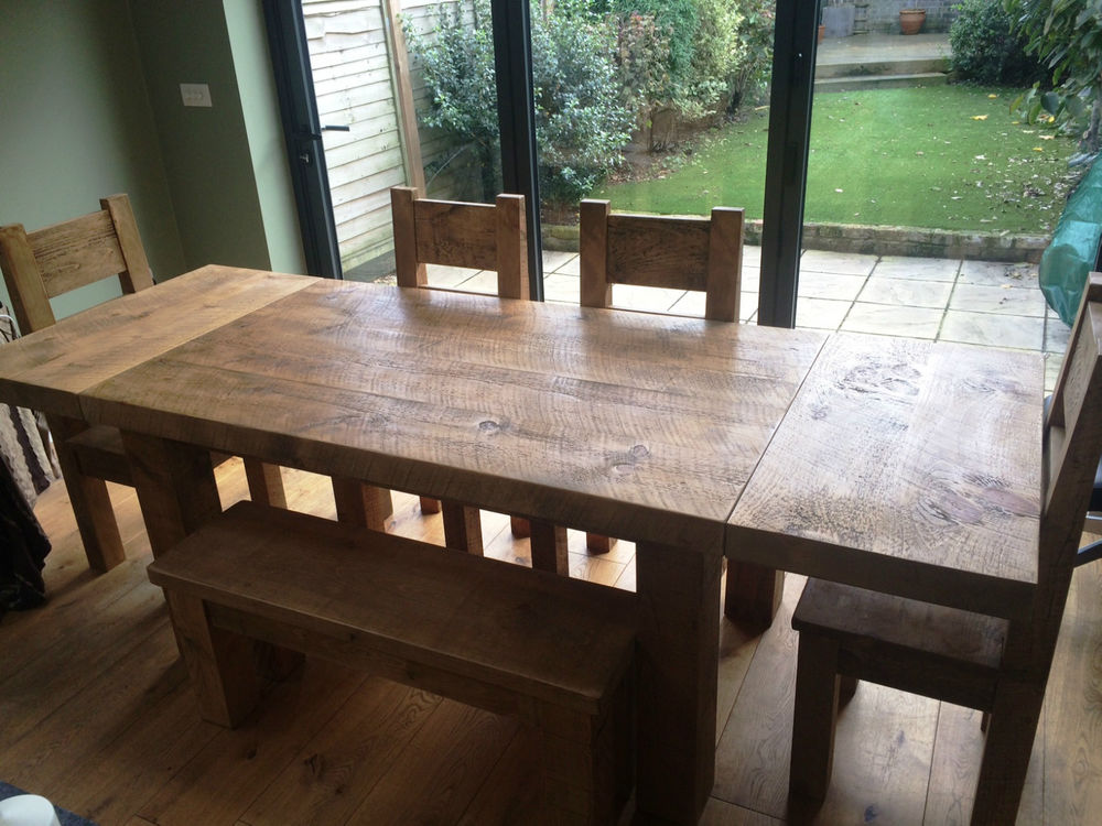 rustic dining table with bench photo - 10