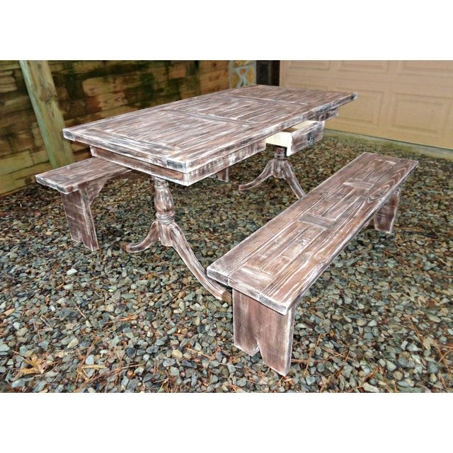 rustic pine dining table bench photo - 10