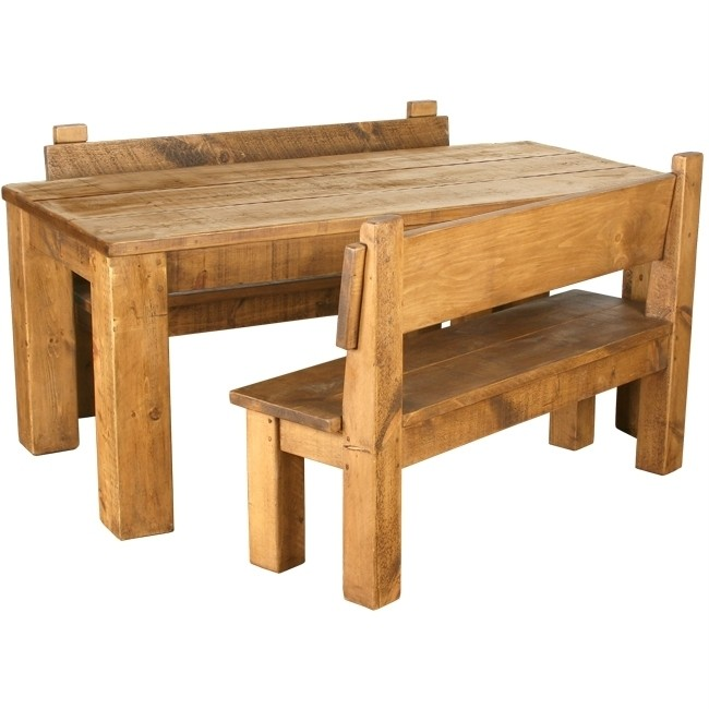 rustic pine dining table bench photo - 3
