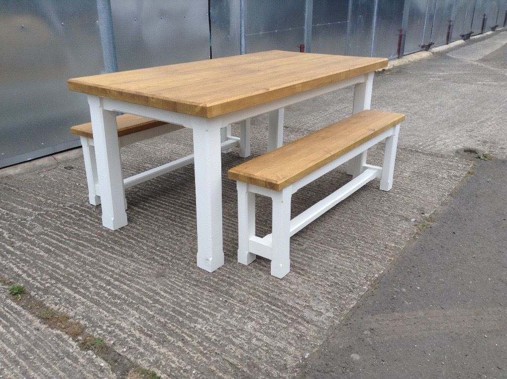 rustic pine dining table bench photo - 4