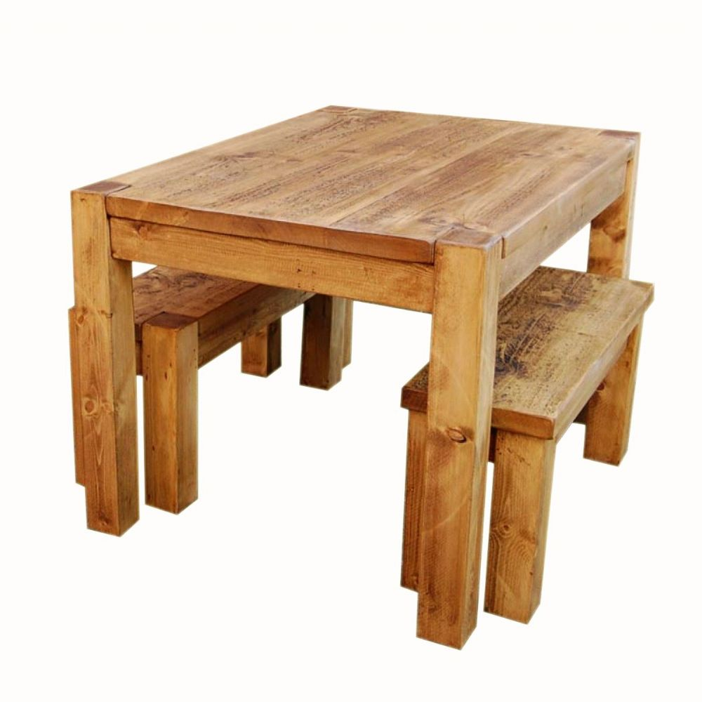 rustic pine dining table bench photo - 5
