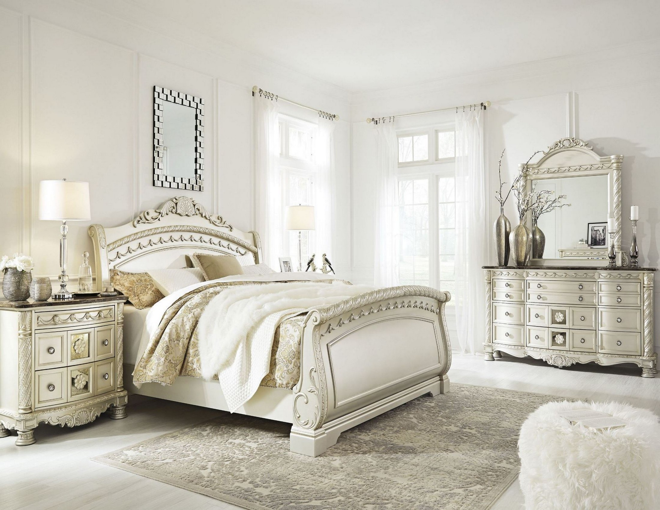 silver pearl bedroom set photo - 2