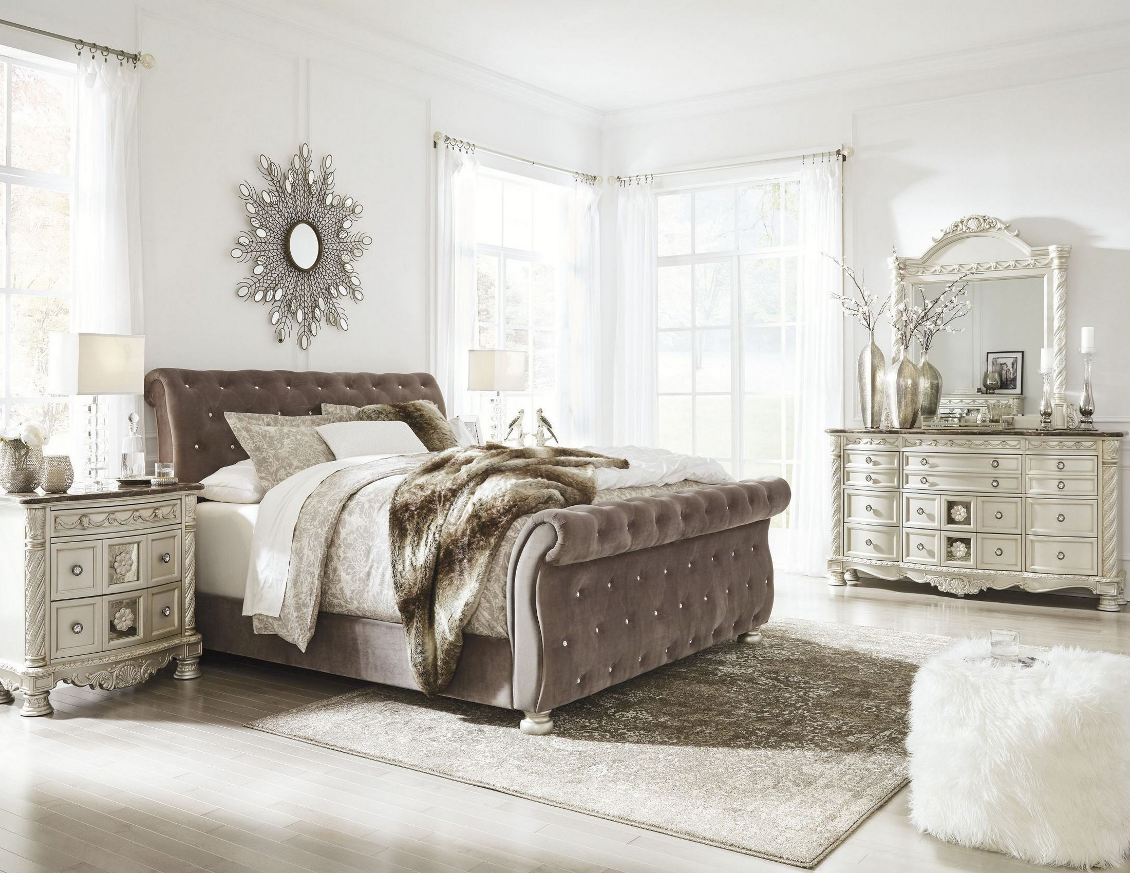 silver pearl bedroom set photo - 4