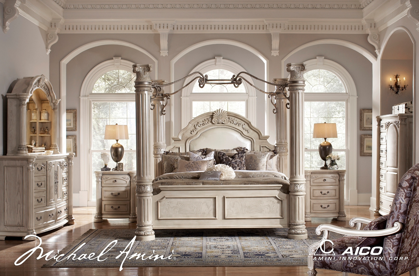 silver pearl bedroom set photo - 5