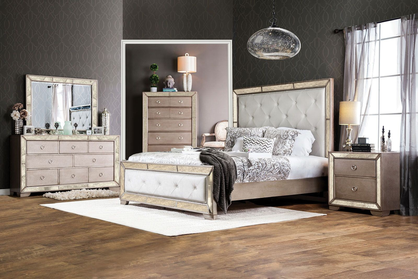 silver snow bedroom set photo - 10