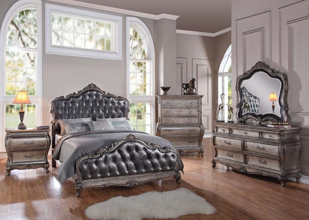silver snow bedroom set photo - 8