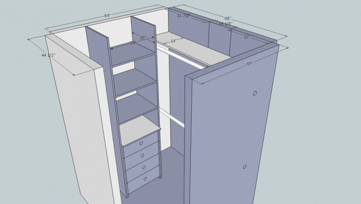 small walk in closet design layout photo - 7