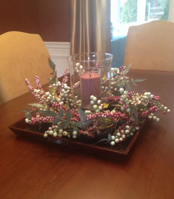 square dining table centerpiece photo - 3