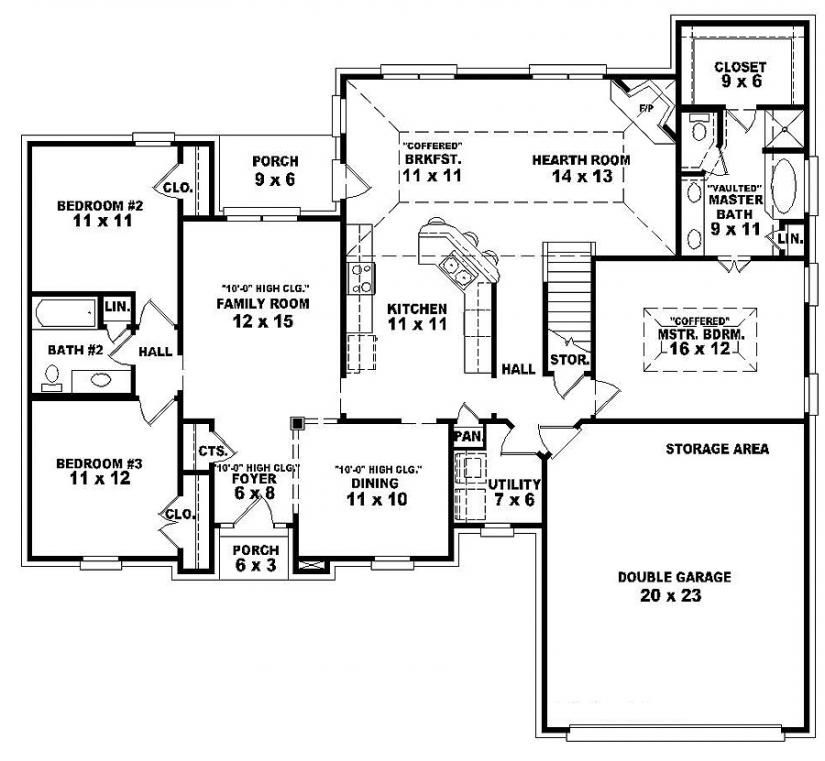 traditional 3 bedroom house plans photo - 3