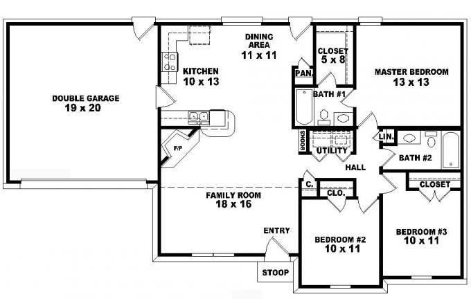traditional 3 bedroom house plans photo - 7