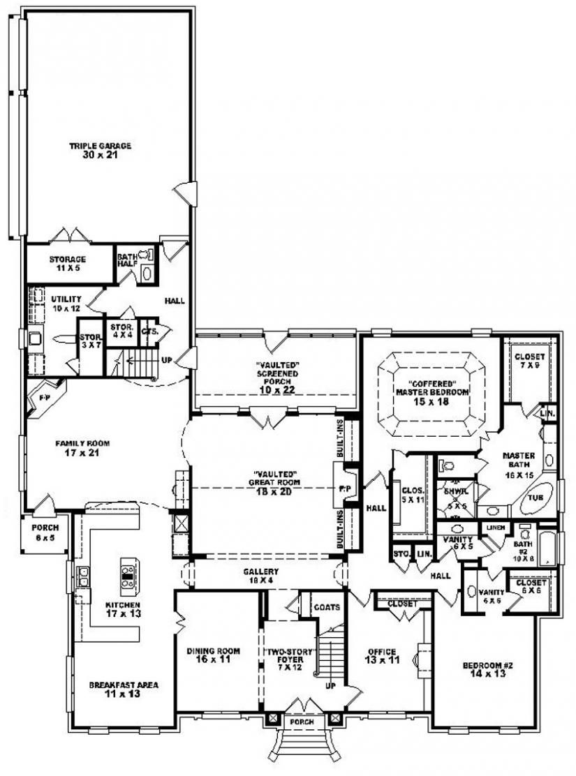 traditional 4 bedroom house plans photo - 4