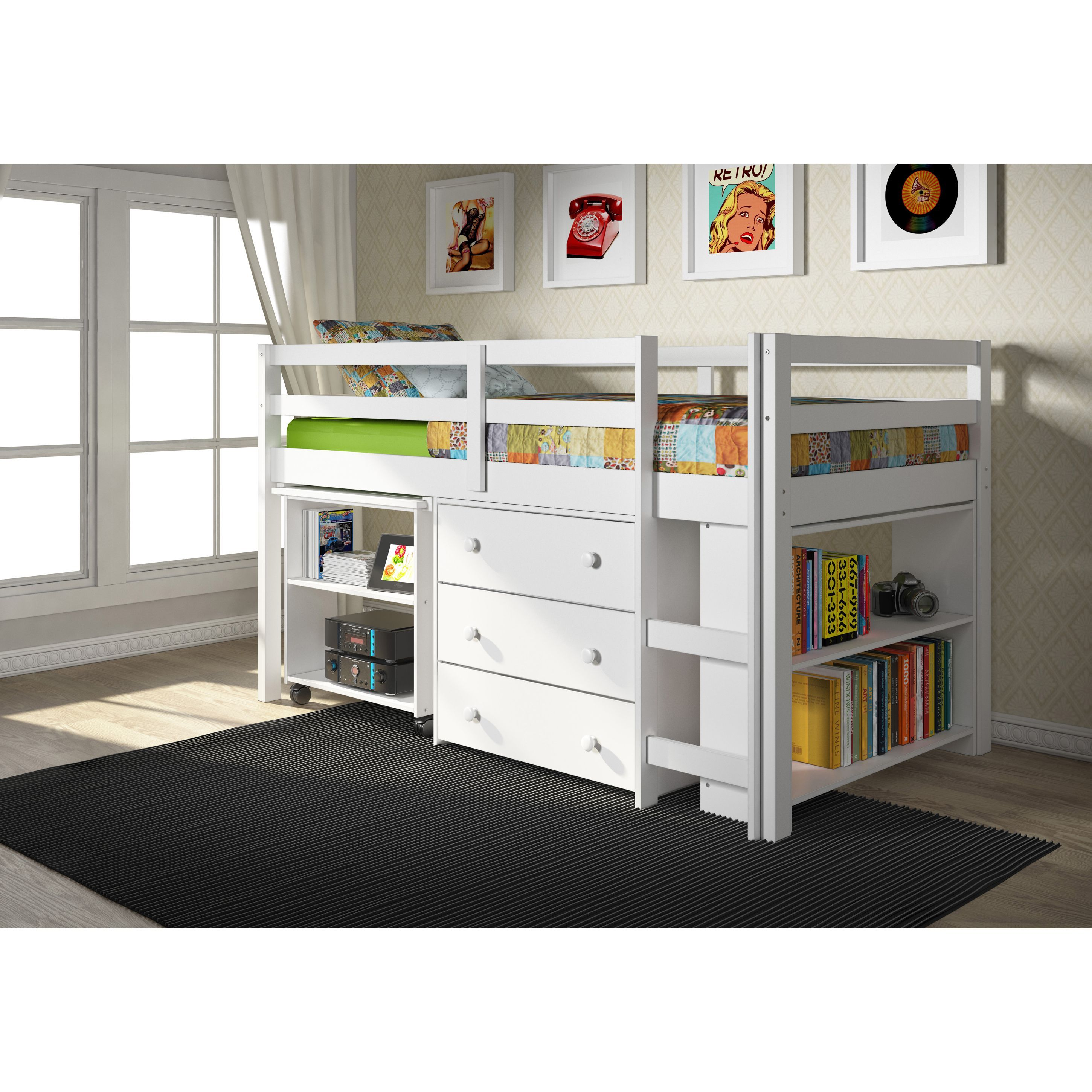 twin low loft beds for kids photo - 2