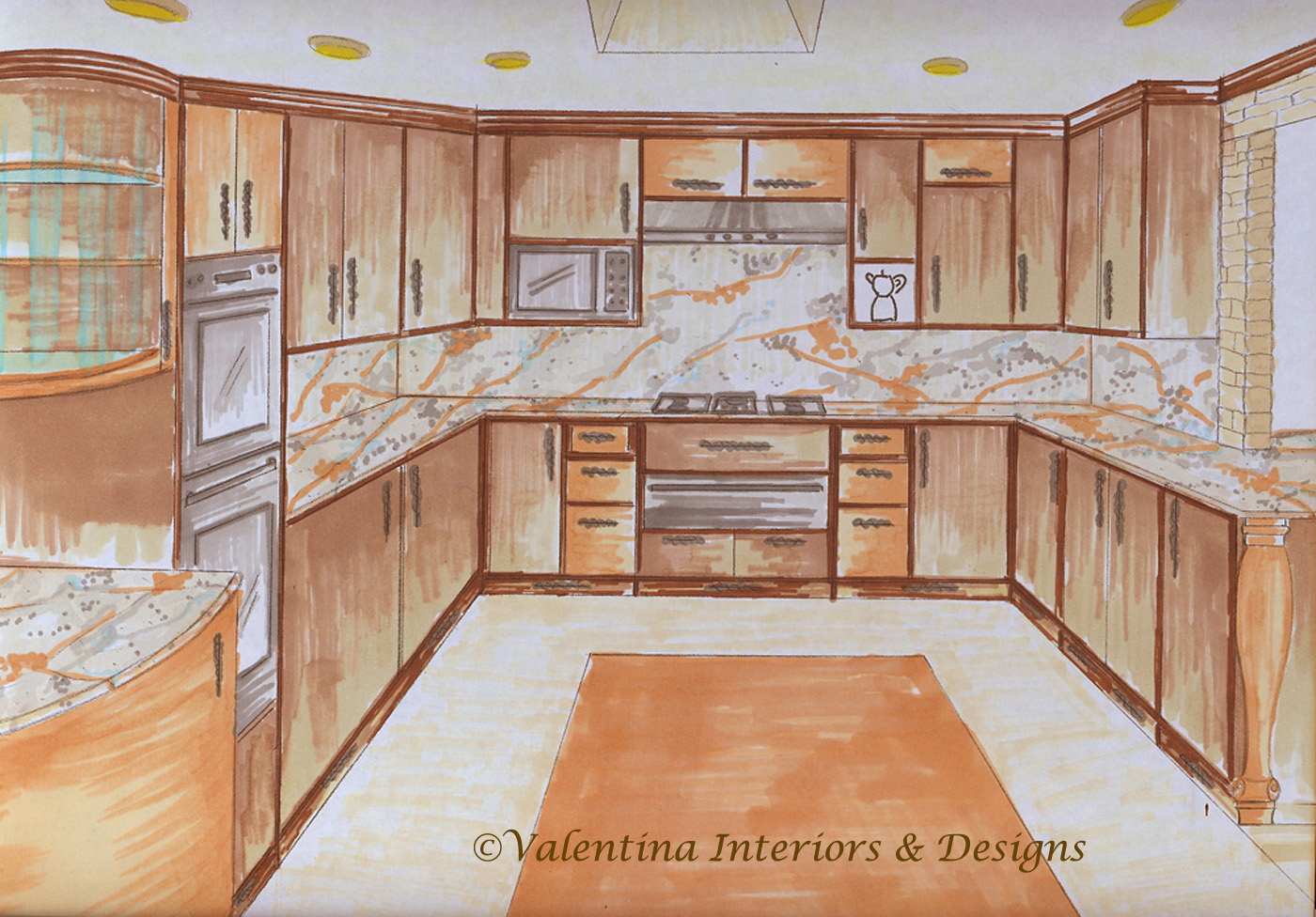 u shaped country kitchen designs photo - 2