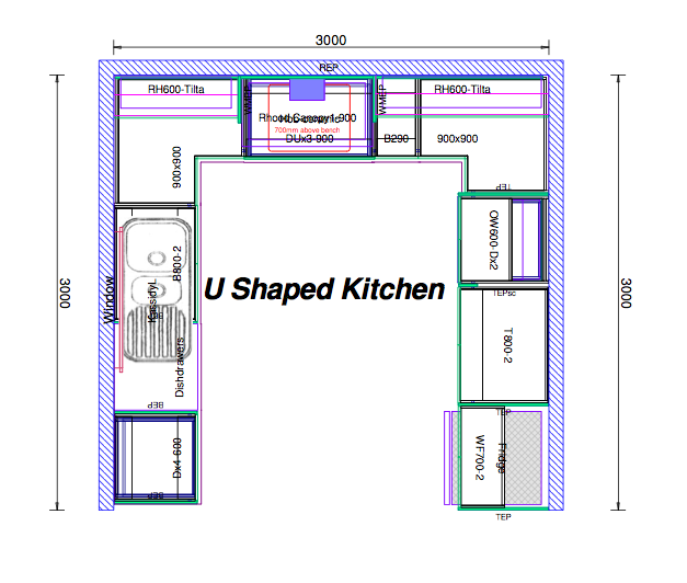 u shaped kitchen plans photo - 6
