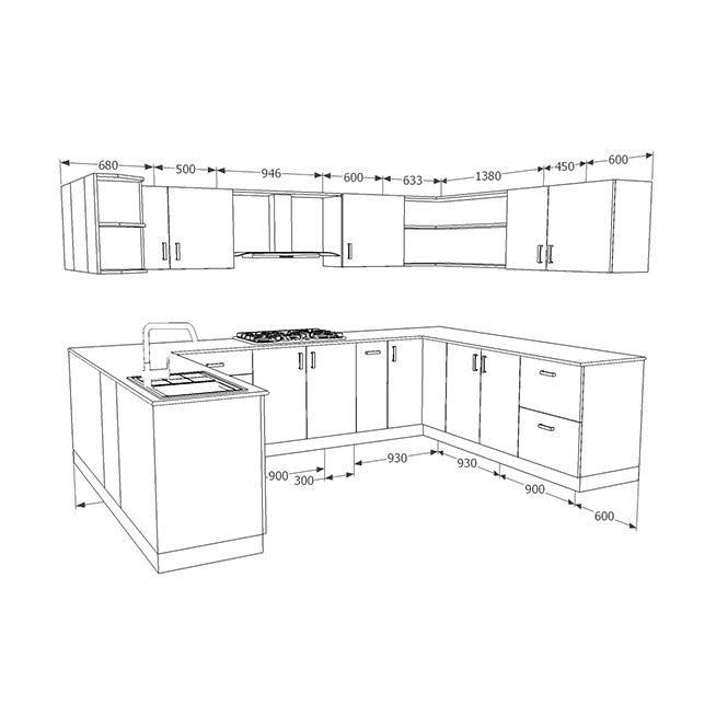 u shaped kitchen size photo - 5
