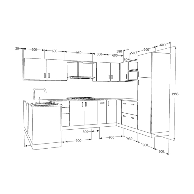 u shaped kitchen size photo - 6
