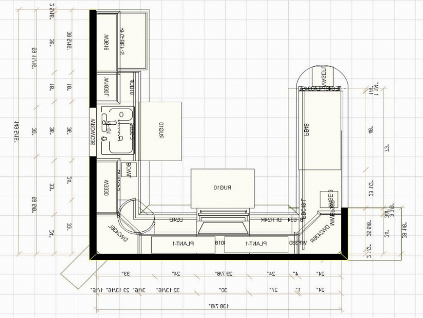 u shaped kitchen size photo - 8