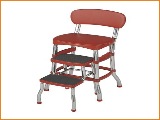 vintage kitchen retro chair bar step stool red photo - 3