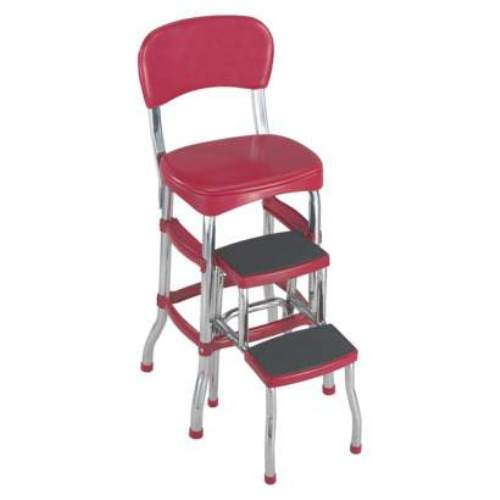 vintage kitchen retro chair bar step stool red photo - 4