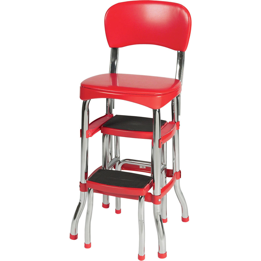vintage kitchen retro chair bar step stool red photo - 5