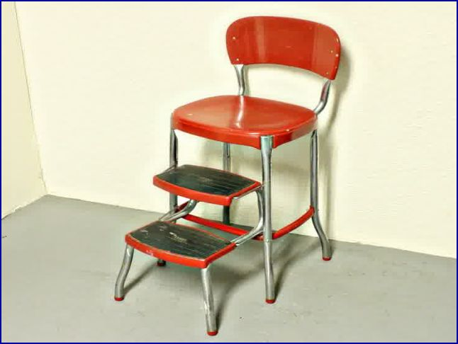 vintage kitchen retro chair bar step stool red photo - 8