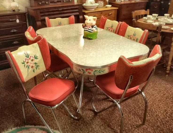 vintage kitchen table and chairs set photo - 4