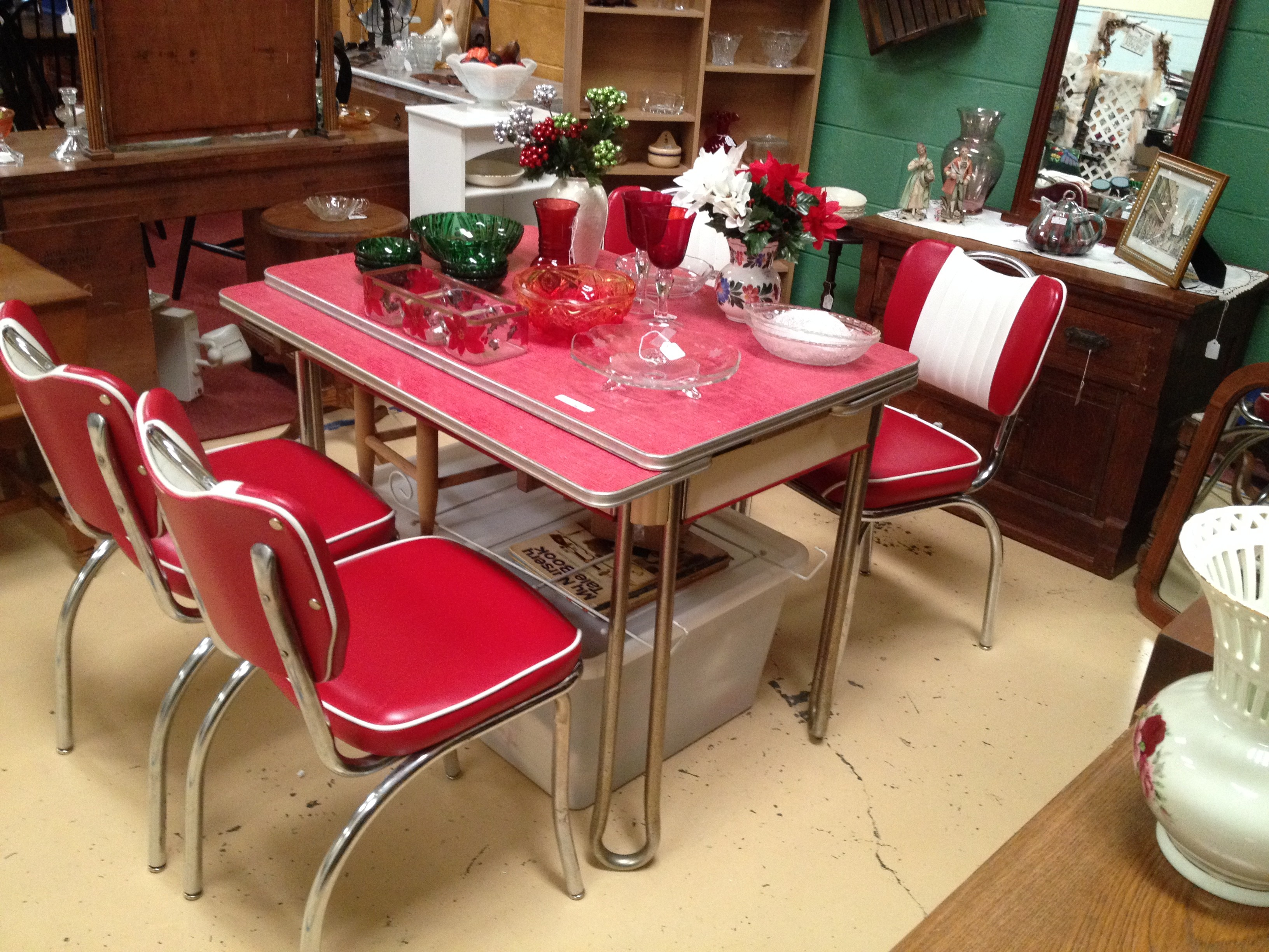 vintage kitchen table and chairs set photo - 6