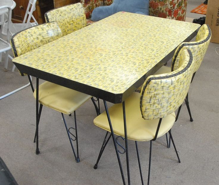 vintage kitchen table and chairs set photo - 7