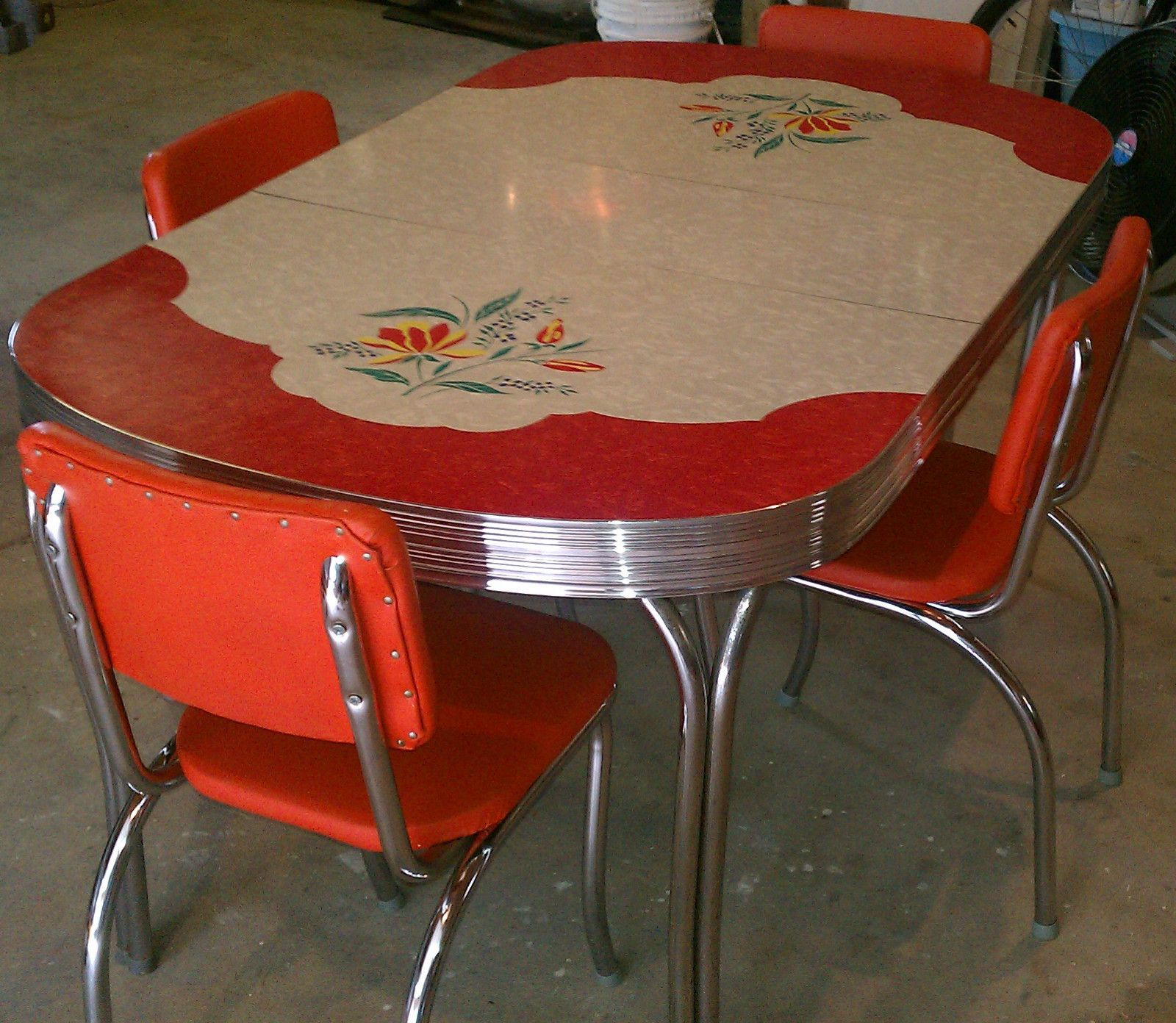 vintage kitchen table and chairs set photo - 8