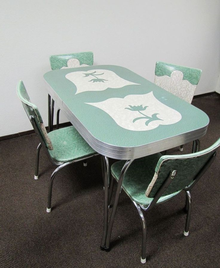 vintage kitchen table and chairs set photo - 9