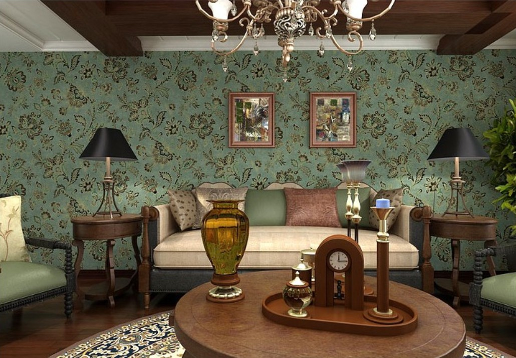 vintage living room wallpaper photo - 1